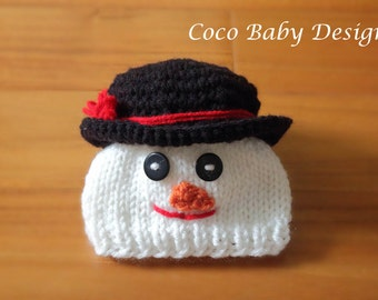 Knitted Baby Snowman Hat with Knitted Scarf - Made to Order - Great Photography Prop