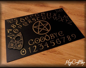 Ouija Board HALLOWEEN in gold or silver color - hand painting - wicca exorcism witch magic - 30x45 cm ( 11,81x17,71 inch )