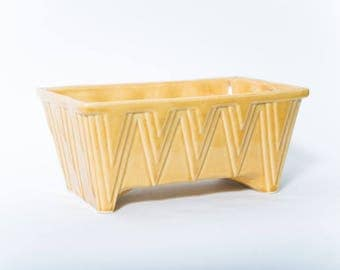 Deco-Style Ceramic Planter Mid Century Golden Yellow 1950s Rectangular Cookson Pottery USA CP Cookson Pottery 1318