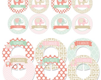Storage Labels and Clothing Dividers Gift Set for Baby Girls with Elephants in Coral, Mint, Gold and Pink - CDBS004