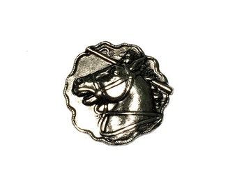 3 Horse Stamping, Animal Cabochon, Antique Silver Ox, 30 mm