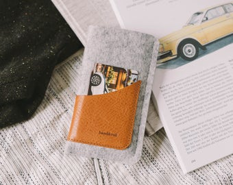 "Felt Pocket Case for iPhone 6S, fits iPhone 7, iPhone 6, leather, wool felt, ""Geometry"", by band&roll"