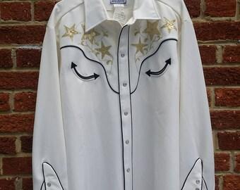 Vintage Mens Western H Bar C Shirt // Rockabilly Rodeo Shirt // Size 17 1/2