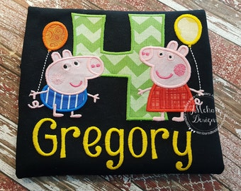 Peppa Pig & George Pig Birthday Custom Tee Shirt - Customizable -  Infant to Youth 271a