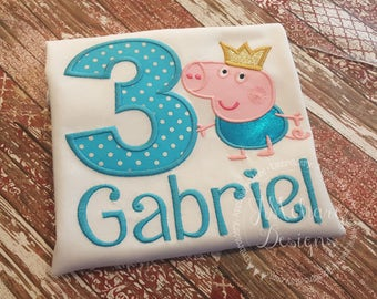 Royal Peppa George Birthday Custom Tee Shirt - Customizable -  Infant to Youth 214a
