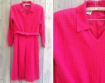 Vintage dress | 1980s Ciao pink wool knit sweater dress with matching belt
