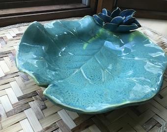 Lily Pad Serving Bowl Ocean Blue Lotus Sculpture