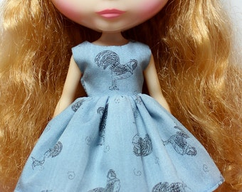 SALE..BLYTHE doll Its my party dress - roosters on denim blue