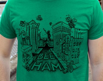 GREEN, SMALL- Buzz About Bee-ham T-shirt