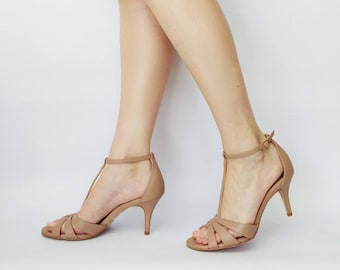 Nude sandals, Nude pumps, Beige shoes, Beige sandals, Heel sandals, Leather sandals, T strap sandals, Dress sandal, Summer sandals