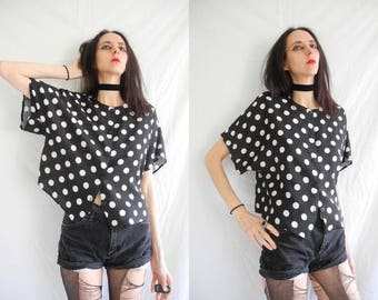 80's Mary Quant black and white polka dot/spot short sleeve top