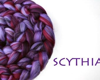SCYTHIA - blended tops - Merino - Tussah silk - 100g/3.5oz - purple - burgundy