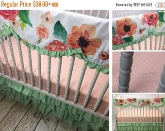 10% OFF FLASH SALE Peach and Mint Floral Girl Crib Bedding Set, Modern, shower gift,crib skirt girl, mint crib skirt,teething guard,