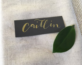 Calligraphy Place Cards with Gold Lettering - small size - hand lettered name cards - Wedding, Shower, Dinner Party