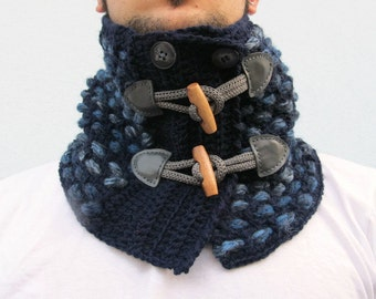 Men Neck Warmer Crochet Neckwarmer  Cowl Scarf Chunky Knit scarf with toggles