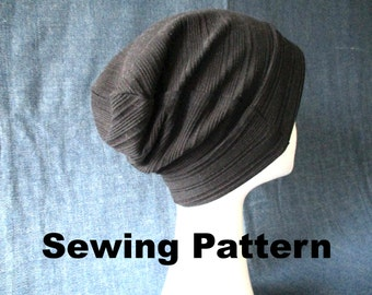 lightweight jersey beanie hat pdf sewing pattern, men boy women girl slouchy slouch beanie pattern, summer fall winter hat pattern, geek hat