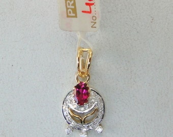 14k Solid Gold Rubelite & Diamond Gemstone Pendant Necklace Amulet India