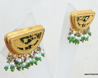 Traditional Design Theva Work Gold Silver Earring Pair