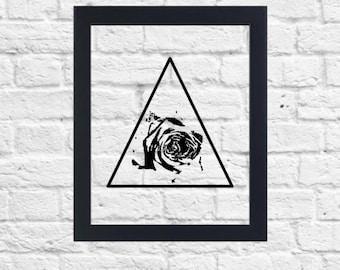 Rose Triangle Print, Floating Frame, 8x10