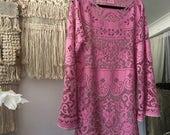 Women's Pink Bohemian Lace Dress.Size 10 to 14.