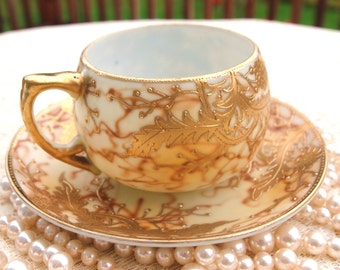 Gold Moriage Tea Cup Set Nippon Japan | Hand Painted Gold Flowers and Leaves | Shofu Japan