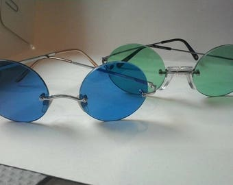 Glasses round sunglasses style Ozzy Osbourne, Janis Joplin blue, green. (new price)