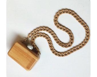 Handmade Meg wood box clutch purse