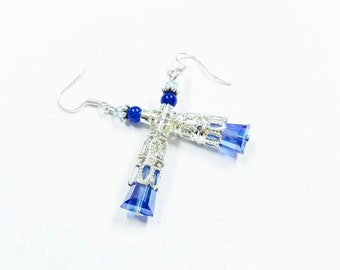 Blue crystal women earrings