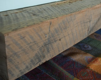 "Reclaimed Wood Mantel Shelf 42"" x 6"" x 6"" Fireplace Mantle Barn Beam Rustic Distressed"