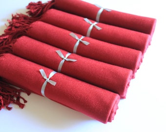 5 Burgundy Pashmina Scarves for Bridesmaids and Guests, Warm Burgundy Bridal Wrap and Gift Keepsake, Wedding Shawl in Burgundy for Bride