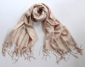 blush pink pashmina scarf, pearl pink pashmina shawl, pink fashion scarf, light pink pashmina scarf,  champagne pashmina shawl, scarf, shawl