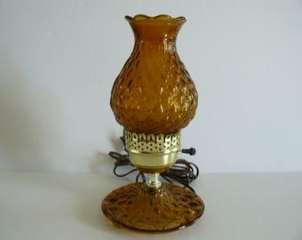 Amber Lamp, Desk Lamp, Cottage Chic Lamp, Glass Lamp