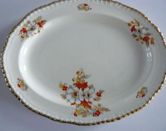 Woods Ivory Ware Platter 355, Platter With White Flowers And Gold Trim
