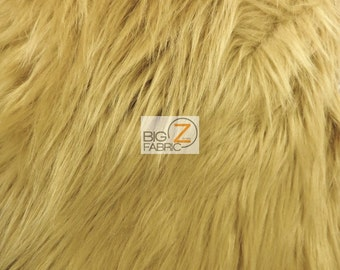 """Solid Shaggy Faux Fur Fabric - CAMEL - Sold By The Yard 60"""" Width Costumes Accessories Clothing"""