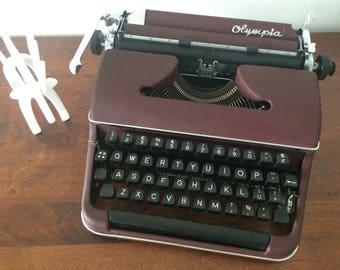 RARE Olympia SM 2 Burgundy / Maroon / Dark Red Typewriter - Working Portable Vintage Typewriter - Industrial Design - Industrial home decor