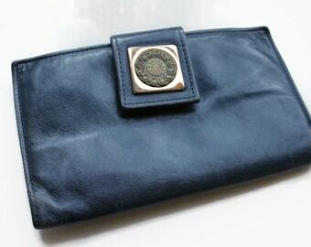 Vintage Blue Leather Billfold, Rolfs, Astrological Symbol, Circa 1970's