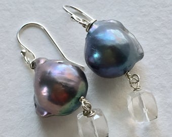 Peacock Blue Baroque Pearl and Quartz Earrings  by KarenWhalenDesigns
