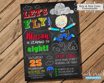 Skydiving Invitation, Parachuting invitation, Skydiver Birthday, Freefalling, iFly Party, Printable Birthday Party Invitation