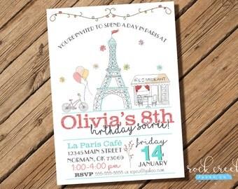 Parisian Soiree Birthday Invitation, Paris Birthday Party, Eiffel Tower Invitation, Paris Party, Printable Birthday Party Invitation