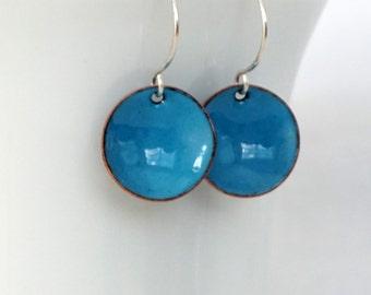 Teal Blue Enamel Earrings - Enamel Jewelry, Minimalist Jewelry, Minimalist Earrings, Simple Earrings, Dot Earrings, Boho Jewelry Earrings