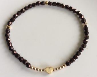Chocolate Czech glass bracelet