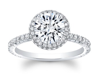 Ladies 14kt french pave diamond halo engagement ring 0.33 ctw with 1.50ct natural Round white sapphire