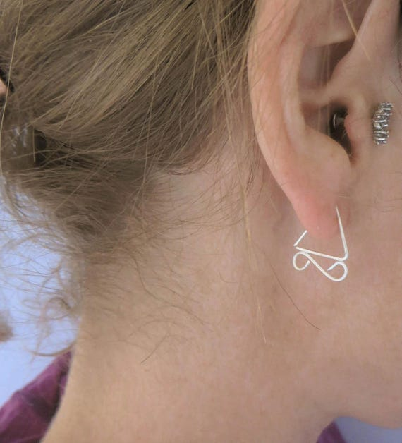 Tiny Triangle Hoop, Wire hoops, Sleepers, Silver Triangle Earrings