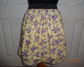 Handmade elasticated waist skirt skater vintage yellow rose 12 M Rockabilly summer