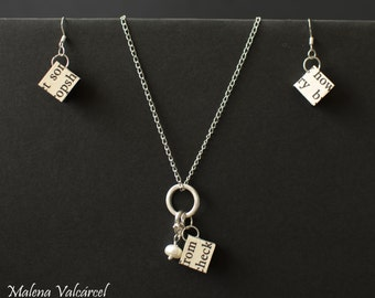 Paper Anniversary gift for wife - Paper Jewellery Set - Paper Necklace - Paper Earrings