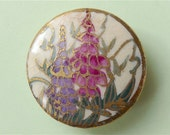 "Satsuma button, antique.   A lovely ceramic button, featuring bell flowers in pink & purple, backmarked ""Japan"", distressed. c1890's-1900."