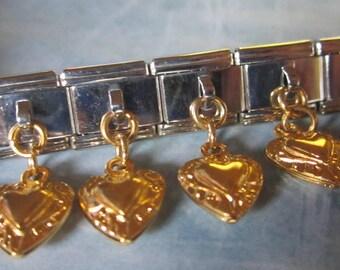 Gold Heart Filigree Dangling  9mm Italian Style Nomination Bracelet Charm Stainless Steel Bracelet Making Silver Toned single charm dangler
