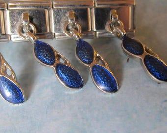 Glasses Sunglasses Dangling  9mm Italian Style Nomination Bracelet Charm Stainless Steel Bracelet Making Silver Toned single charm dangler
