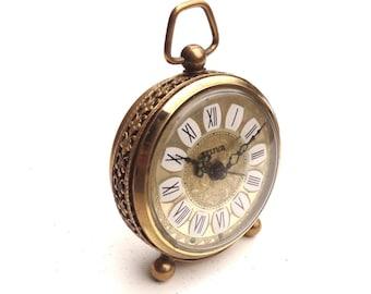 Vintage little Alarm clock Seliva golden filigree decor