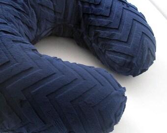 Boppy Cover in Navy Embossed Chevron Minky Nursing Pillowcover, baby gift, shower gift